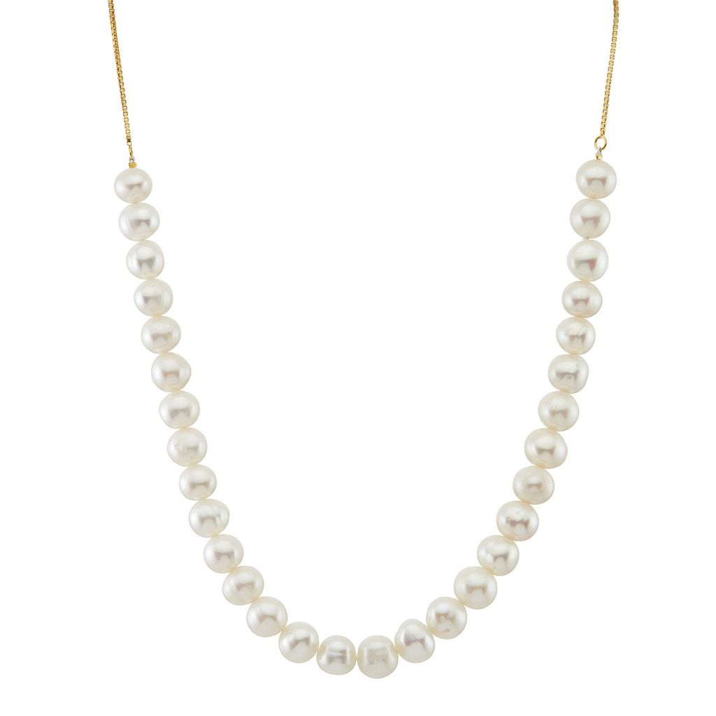 14k Gold Over Silver Freshwater Cultured Pearl Adjustable Necklace