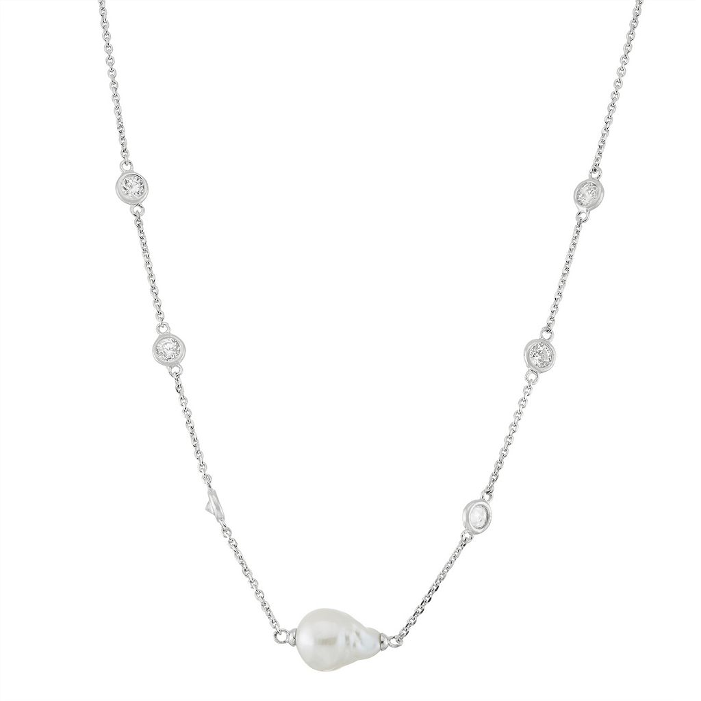 Sterling Silver Freshwater Cultured Pearl & Cubic Zirconia Station Necklace