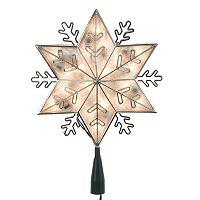 Kurt Adler Pre-Lit Silver Snowflake Star Tree Topper