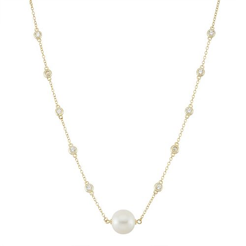 14k Gold Over Silver Freshwater Cultured Pearl & Cubic Zirconia Station Necklace