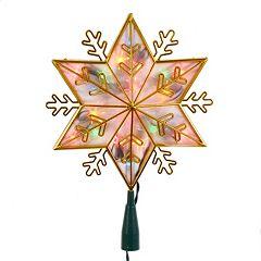Kurt Adler Pre-Lit Gold Snowflake Star Tree Topper