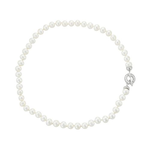 Sterling Silver Freshwater Cultured Pearl & Cubic Zirconia Toggle Necklace