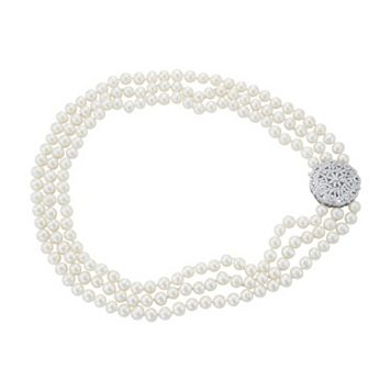 Sterling Silver Freshwater Cultured Pearl Multi Strand Necklace