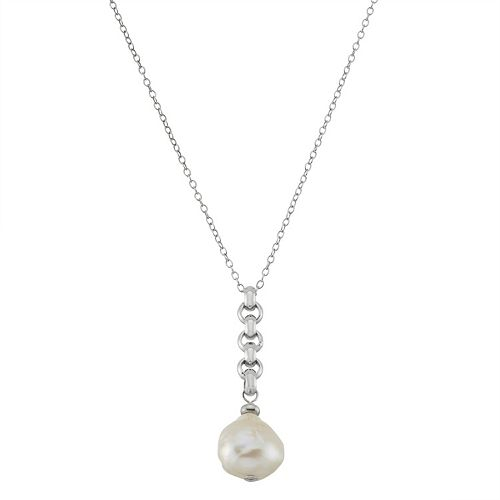 Sterling Silver Freshwater Cultured Pearl Drop Pendant Necklace