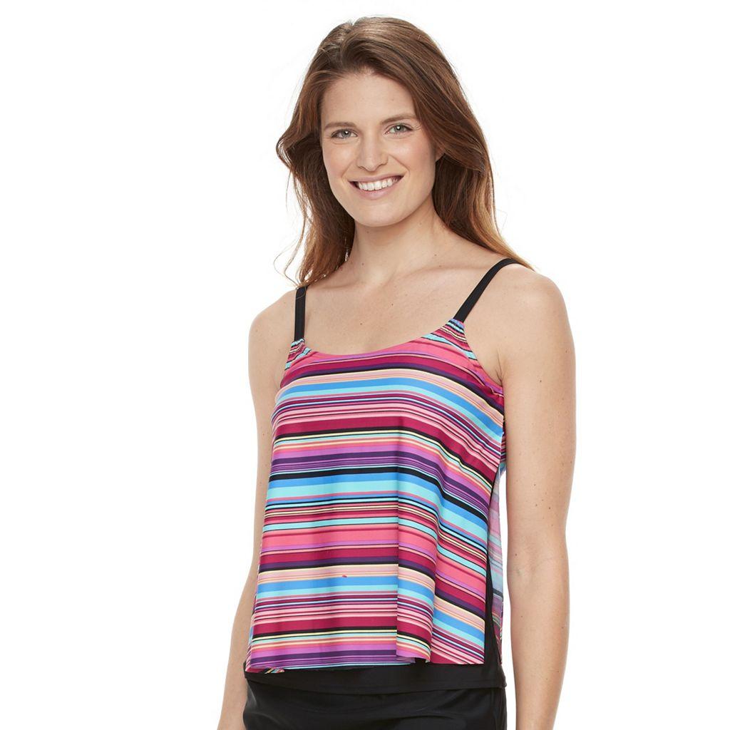 Women's Croft & Barrow Popsicle Stripe Side Slit Tankini