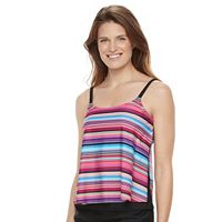Women's Croft & Barrow Popsicle Stripe Side Slit Tankini