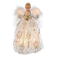 Kurt Adler 12-in. Pre-Lit Ivory & Gold Angel Tree Topper
