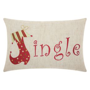 Mina Victory Home for the Holidays ''Jingle'' Oblong Throw Pillow