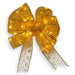 Click here to buy National Tree Company 9-in. Pre-Lit Bow Christmas Tree Topper .