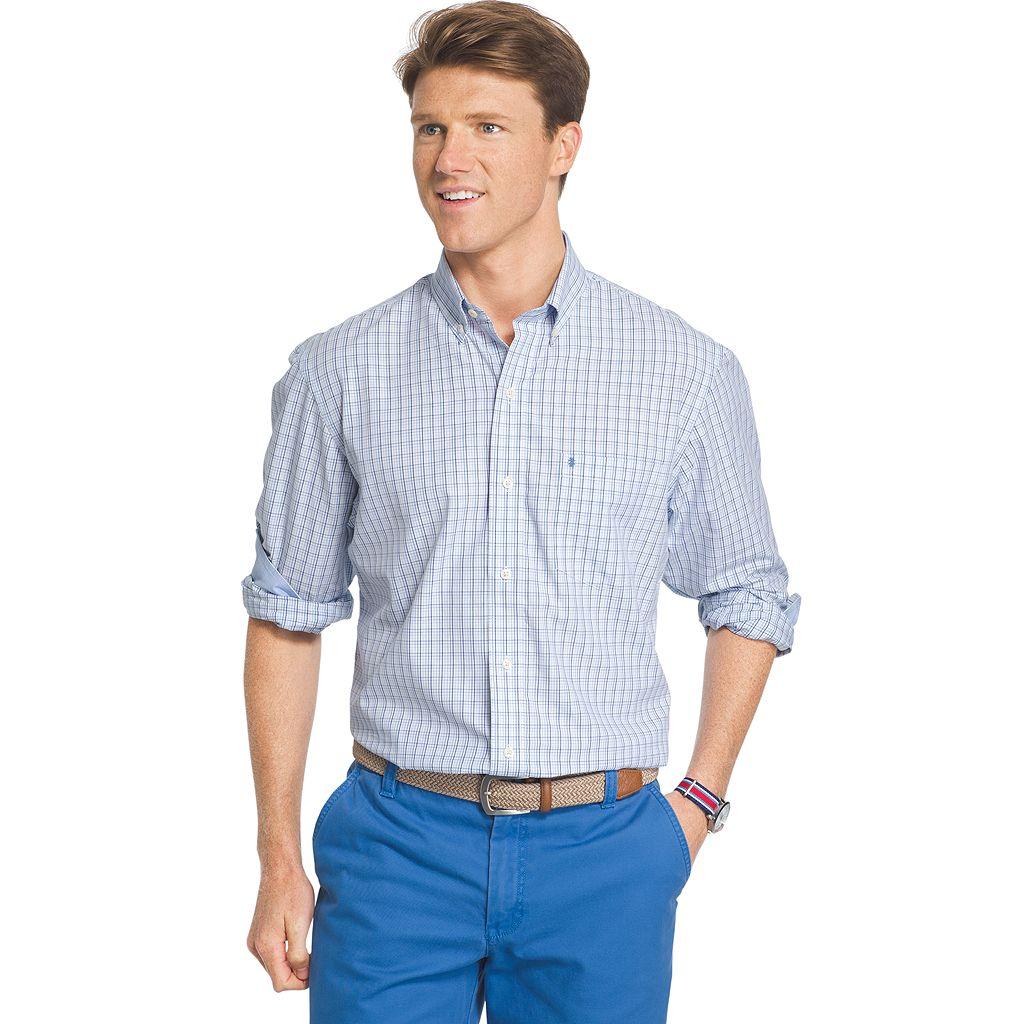 Big & Tall IZOD Essential Classic-Fit Tattersall Plaid Poplin Button-Down Shirt