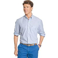Big & Tall IZOD Essential Classic-Fit Tattersall Plaid Poplin Button-Down Shirt