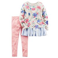 Toddler Girl Carter's Floral French Terry Peplum Top & Leggings Set