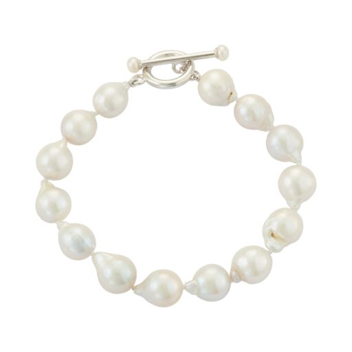 Sterling Silver Freshwater Cultured Pearl Toggle Bracelet