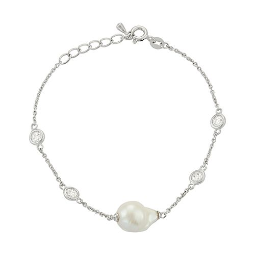 Sterling Silver Freshwater Cultured Pearl & Cubic Zirconia Station Bracelet
