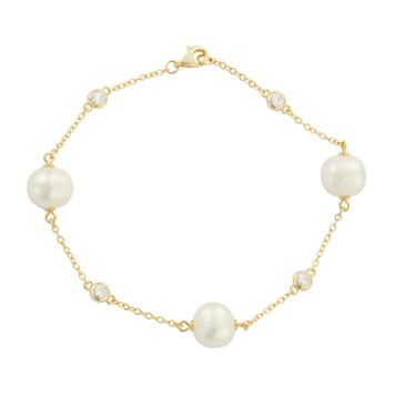 14k Gold Over Silver Freshwater Cultured Pearl & Cubic Zirconia Station Bracelet