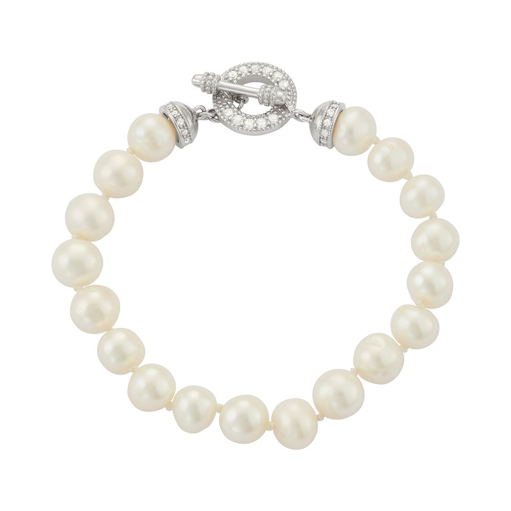 Sterling Silver Freshwater Cultured Pearl & Cubic Zirconia Toggle Bracelet