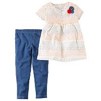 Toddler Girl Carter's Multi-Colored Polka-Dot Woven Top & Jeggings Set