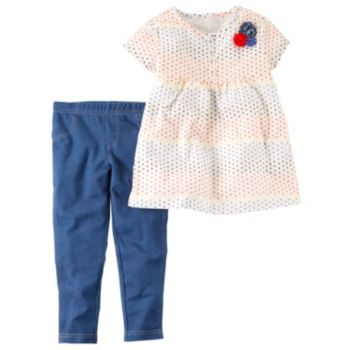 Toddler Girl Carter's Multi-Colored Polka-Dot Woven Top & Jeggings Set