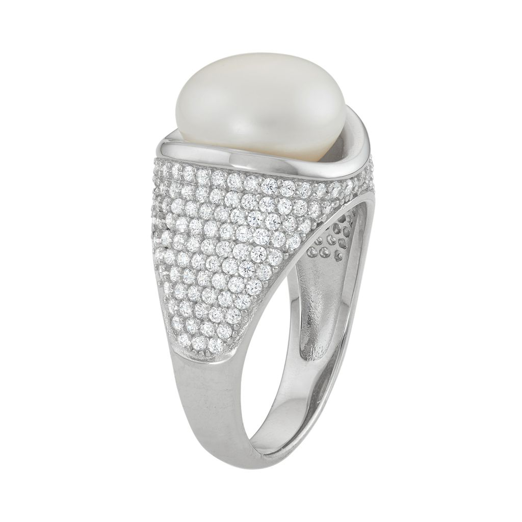 Sterling Silver Freshwater Cultured Pearl & Cubic Zirconia Dome Ring