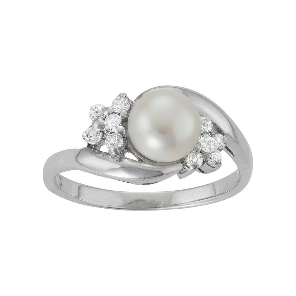 Sterling Silver Freshwater Cultured Pearl & Cubic Zirconia Bypass Ring