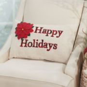 Mina Victory Home for the Holidays ''Happy Holidays'' Oblong Throw Pillow