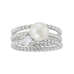 Sterling Silver Freshwater Cultured Pearl & Cubic Zirconia Ring Set