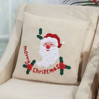 Mina Victory Home for the Holidays ''Merry'' Santa Throw Pillow