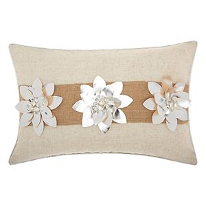Mina Victory Home for the Holidays Three Poinsettias Oblong Throw Pillow