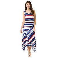 Women's Haggar Brushstroke Striped Asymmetrical Maxi Dress