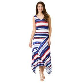 Women's Haggar Brushstroke Striped Asymmetrical Maxi Dress