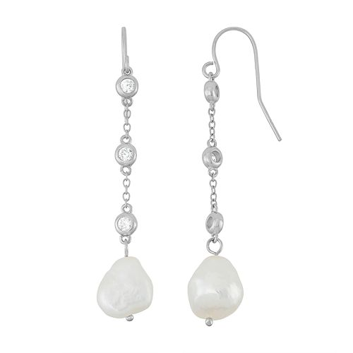 Sterling Silver Freshwater Cultured Pearl & Cubic Zirconia Linear Drop Earrings