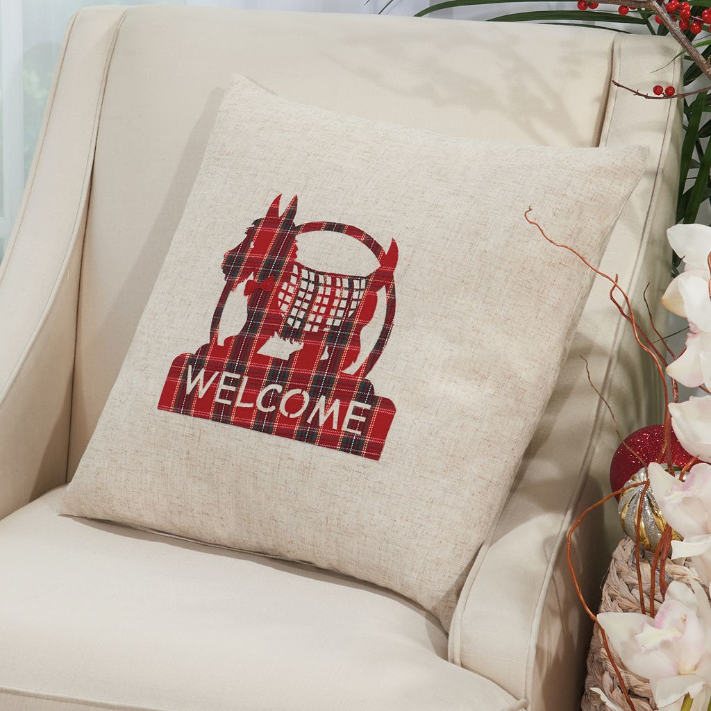 Mina Victory Home for the Holidays ''Welcome'' Scottie Throw Pillow
