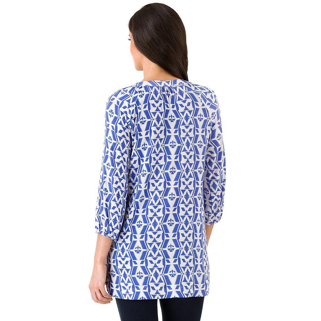 Women's Haggar Tie-Neck Print Tunic