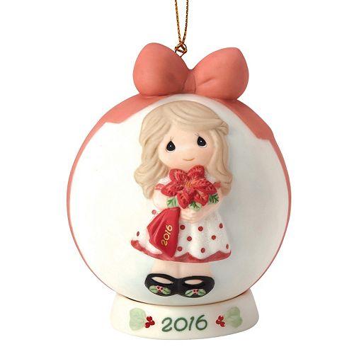 "Precious Moments ""Wishing You A Beautiful Christmas"" 2016 Girl Christmas Ornament"