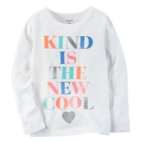 """Toddler Girl Carter's """"Kind is the New Cool"""" Glitter Text Graphic Tee"""