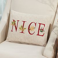 Mina Victory Home for the Holidays ''Nice'' Oblong Throw Pillow