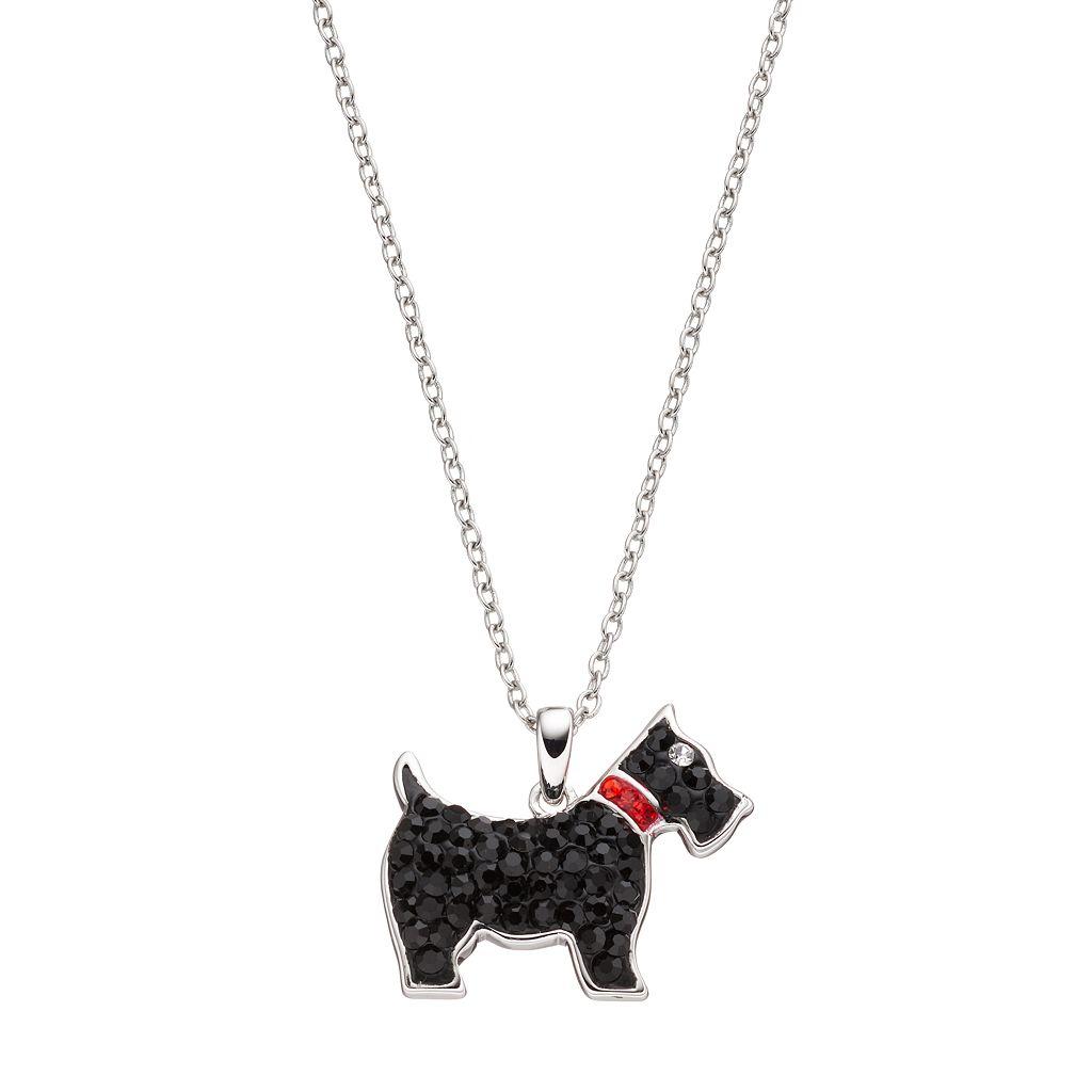Silver Tone Crystal Scottie Dog Pendant Necklace