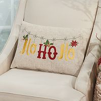 Mina Victory Home for the Holidays ''Ho Ho Ho'' Oblong Throw Pillow