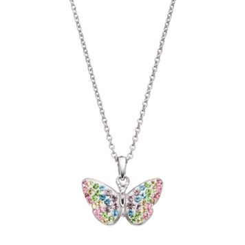 Silver Tone Crystal Butterfly Pendant Necklace