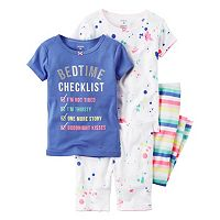 Baby Girl Carter's Splatter & Striped Tee, Shorts & Pants Pajama Set