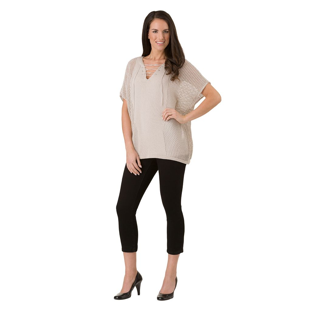 Women's Haggar Mitered Solid Poncho Sweater