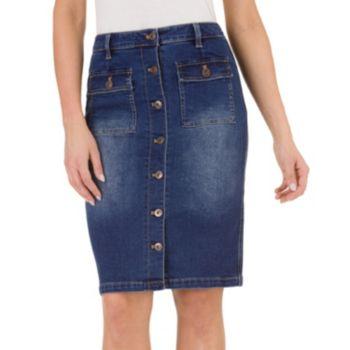 Women's Haggar Button-Front Jean Pencil Skirt