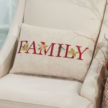 Mina Victory Home for the Holidays ''Family'' Oblong Throw Pillow