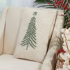 Mina Victory Home for the Holidays Pine Tree Oblong Throw Pillow