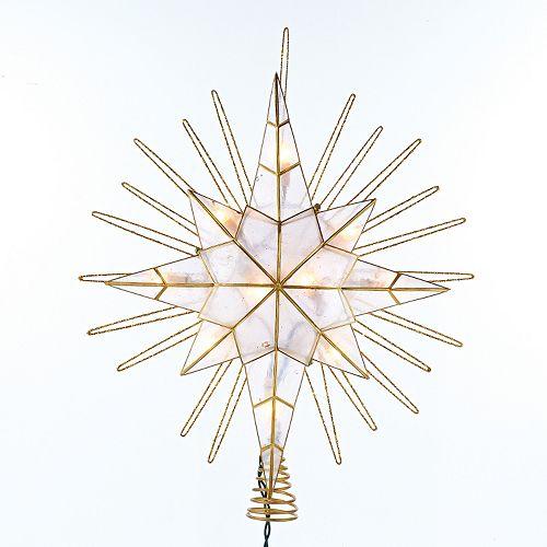 Kurt Adler 14-in. Pre-Lit Gold Glitter Bethlehem Star Tree Topper