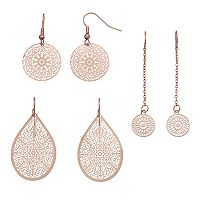 Openwork Disc & Teardrop Earring Set