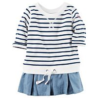 Toddler Girl Carter's French Terry Striped Chambray Peplum Pullover