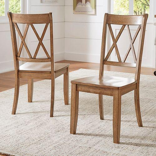 HomeVance Acorn Creek X-Back Dining Chair 2-piece Set