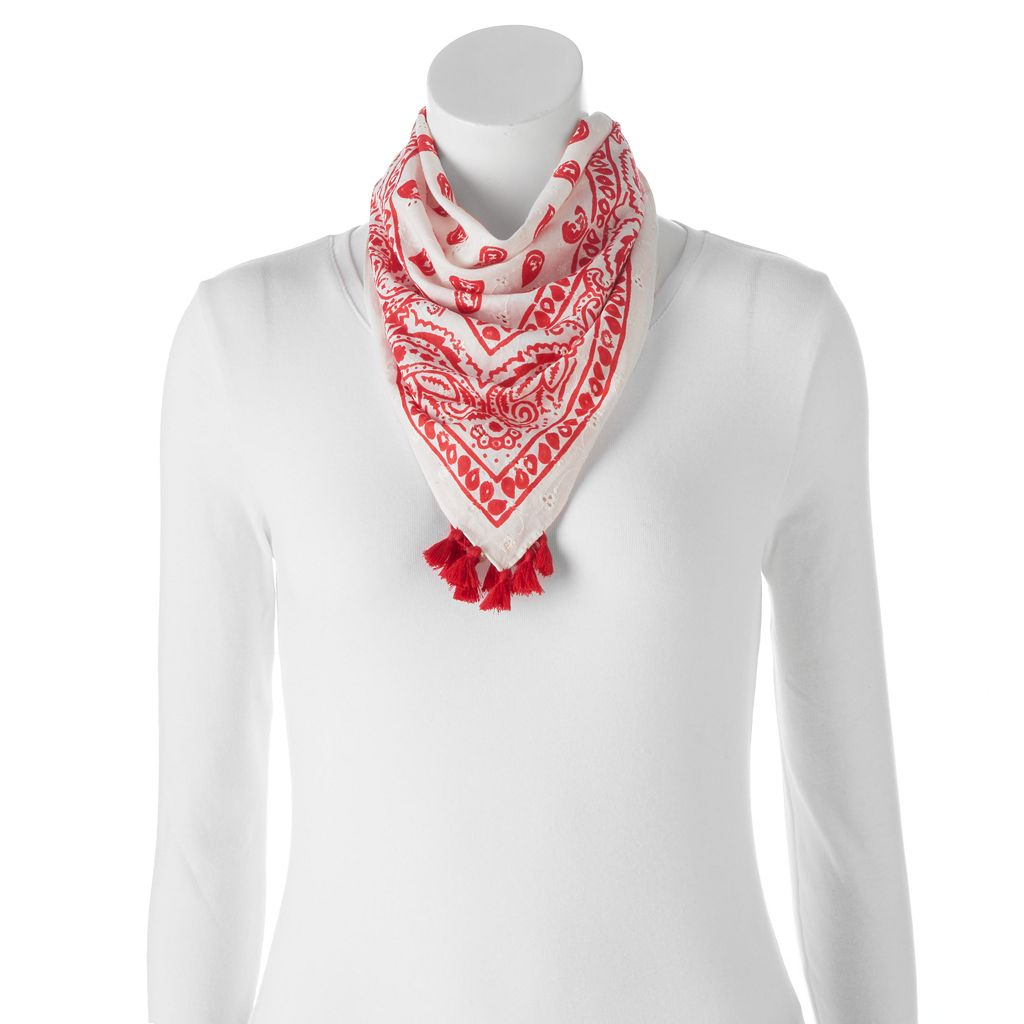 madden NYC Floral Tassel Square Scarf