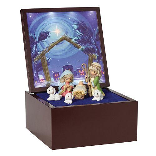 Precious Moments Heirloom Nativity Light-Up Musical Box 7-piece Set